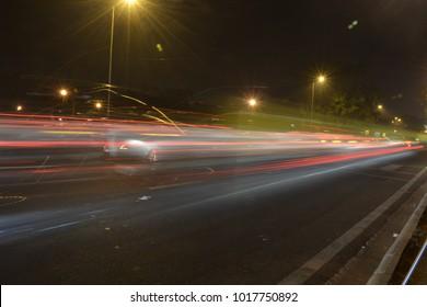 Slow shutter shot on highway