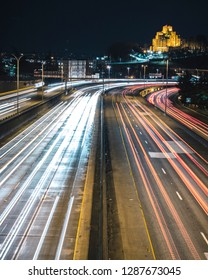 Slow Shutter Street Photography of Seattle Freeway Red and White Streaks