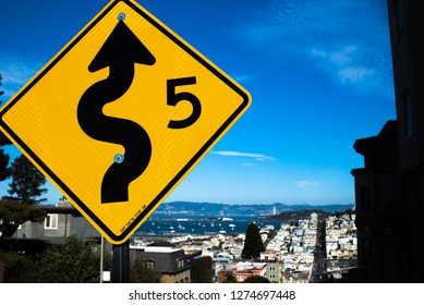Slow Sign on Lombard Street in San Francisco