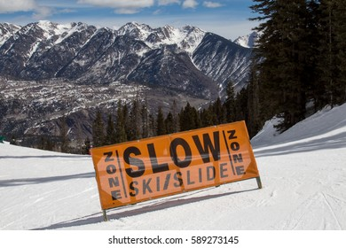 Slow ski / slide area on a ski run at Purgatory resort in Durango, Colorado