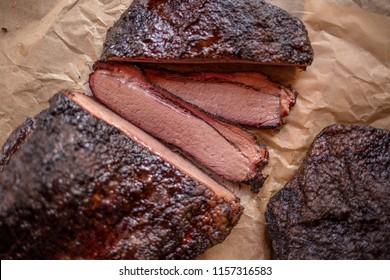 Slow smoked sliced brisket
