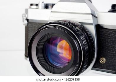 SLR camera. Close up.