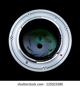 SLR Camera Lens mount side exposed aperture blades