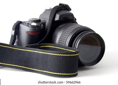 SLR camera over white background