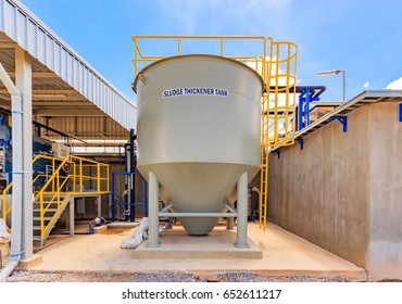 Sludge thickener tank in Water Treatment plant, Modern urban wastewater treatment plant.