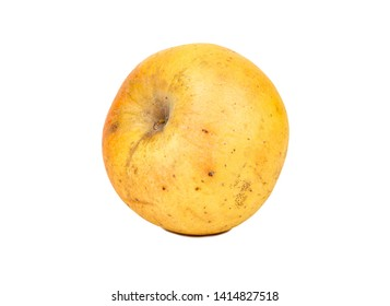 Sluggish yellow apple isolated on white background