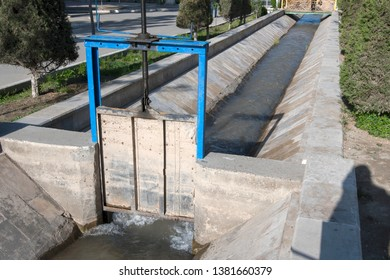 Sluice. Detail of irrigation system of the city. Bukhara, Uzbekistan, Central Asia.