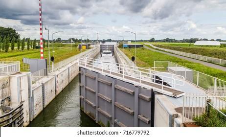 Sluice Empel bridges the difference in water level between the  South Willemsvaart en de river Maas in the Netherlands
