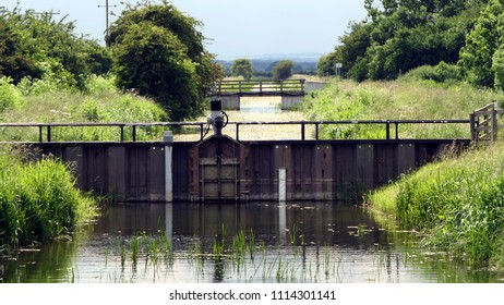 Sluice gate - flood control construction on canal/drain in East Yorkshire, England
