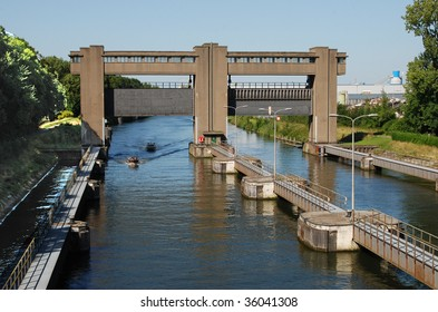 Sluice Gates on the River Maas, Maastricht, Netherlands