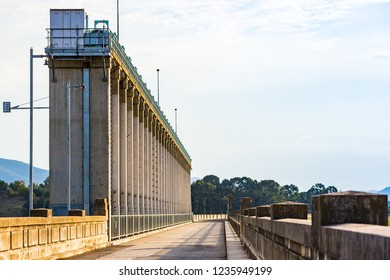 The sluice gates and parapet walls, viewed along the crest of the Hume Dam. Albury, New South Wales.