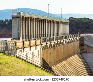 Sluice gates and spillway of the Hume Dam.  Albury, New South Wales.