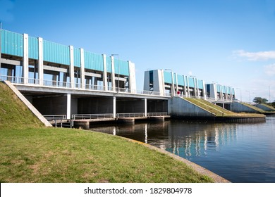 The sluice at Lauwersoog in the province of Groningen, the Netherlands, which are connected to the Wadden Sea