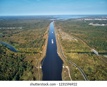 Sluice on the chanel Moscow-Volga, aerial view, dubna, dvitrov