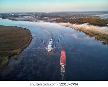 Sluice on the chanel Moscow-Volga, aerial view, dubna, dvitrov