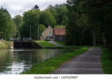 Sjöstorps sluices, Göta Kanal, Sweden. A 200 years old canal and sluices with a way beside the canal.