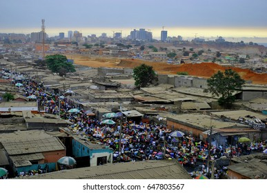 Slum in Angola, Africa. Capital city of Luanda. Poverty versus wealth in developing countries.