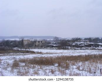 Slum neighborhood. Slum area housing slum. Natural scene.