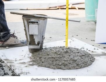 Slump concrete checking in lab
