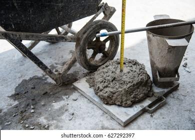 Slump concrete test of Trial mix concrete