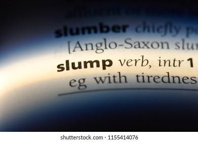 slump word in a dictionary. slump concept.