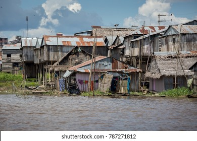 The slums of Belen village in Iquitos, Peru in the Amazon rainforest