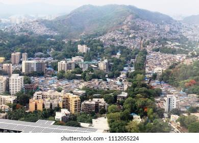 Slums coexist with highrises in Mumbai suburb