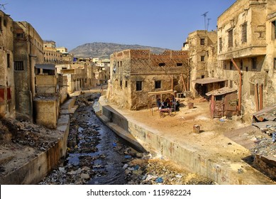 Slums in downtown of Fez, Morocco