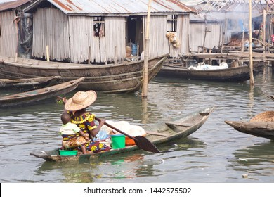 """In the slums of Makoko people use """"banana boats"""" as main means of transportation."""