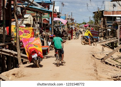 Slums in Siem Reap cambodia, just outside of the tourist area