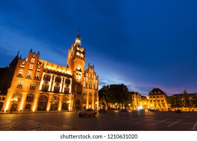 Slupsk City Hall at night. Slupsk, Pomerania, Poland.