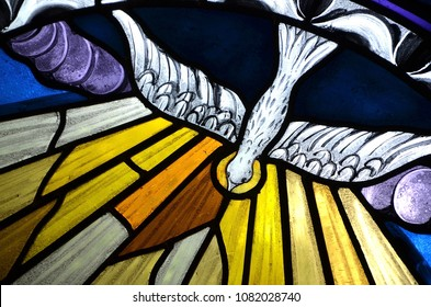 SLUPSK, POLAND – 01 MAY 2018 - biblical scenes on stained glass windows