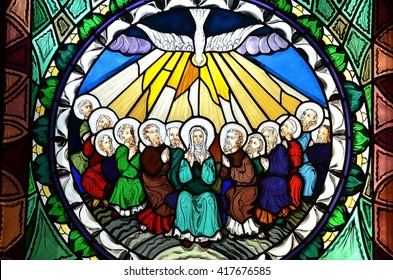 SLUPSK, POLAND - 21 MARCH 2016 stained glass window depicting Pentecost