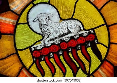 SLUPSK, POLAND - 27 MARCH 2016 - stained glass window depicting the Lamb of God