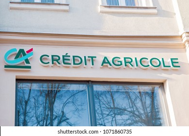 Slupsk, Poland - April 8, 2018: Credit Agricole logo on a wall. Credit Agricole is a French network of cooperative and mutual banks.