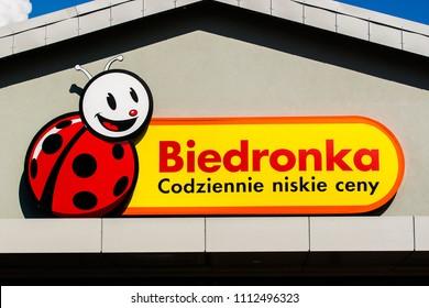 Slupsk, Poland - May, 2018:  Biedronka supermarket. Biedronka is a supermarket chain in Poland owned by Jeronimo Martins.