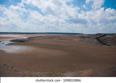 slurry tailing pond. a workshop of technical water and a slurry farm at a metallurgical plant.