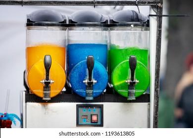 Slush ice Granita making machine in a fast food store