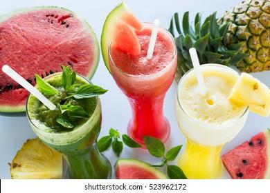 Slush ice with pineapple ,basil and watermelon.