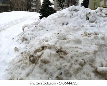 Slushy dirty snow street photo