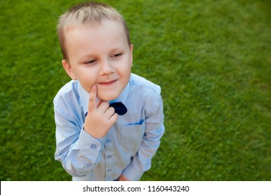 Sly boy on green background