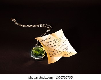 Slytherin's Locket with Regulus Arcturus Black's letter on the black background.  ISTANBUL / TURKEY - APRIL 15, 2019