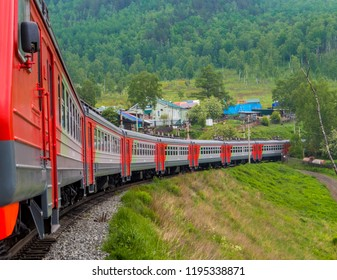 SLYUDYANKA, RUSSIA - JUNE 14, 2018: The Circum-Baikal Express, the train that goes around the Baikal lake, starting from Irkutsk Railway Station.