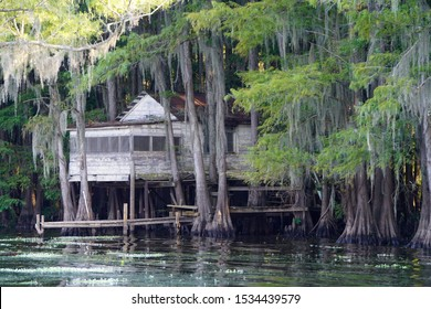 Small abandoned house over the swamp at Caddo Lake near Uncertain, Texas