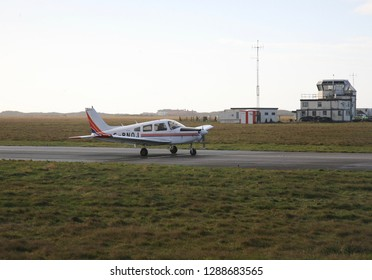 A small aircraft comes in to land at Blackpool Airport, Blackpool, Lancashire, England, Europe on Monday, 14th, January, 2019
