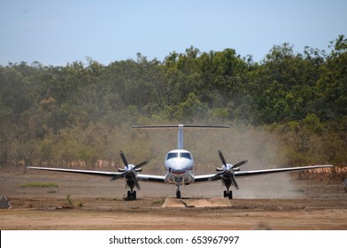 Small Aircraft from the Flying Doctors Service that has just landed in the Australian outback. Queensland, Australia