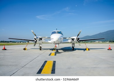 Small Airplane or Aeroplane Parked at Airport.Small Airplane Famous to use Private Airplane.