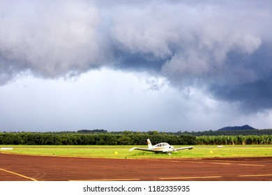 Small airplane on airfield on the Atherton Tableland in Queensland, Australia
