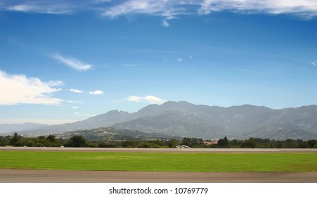 Small airport in mountains at spring
