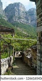 Small alley with cobble stones under wine ranks in a small village (mikro papingo) in the Zagoria area, Epirus, Greece.